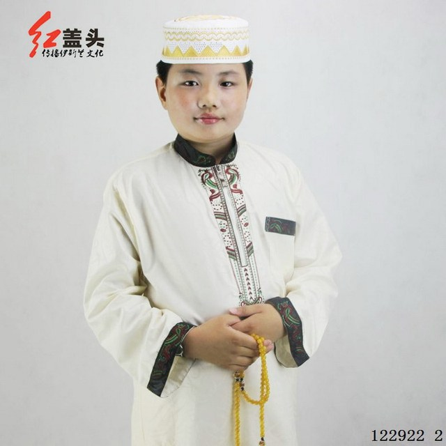 Polyester cotton Stand collar Embroidered Muslim Thobe for boys long sleeve Two-piece Pakistani clothing for Children