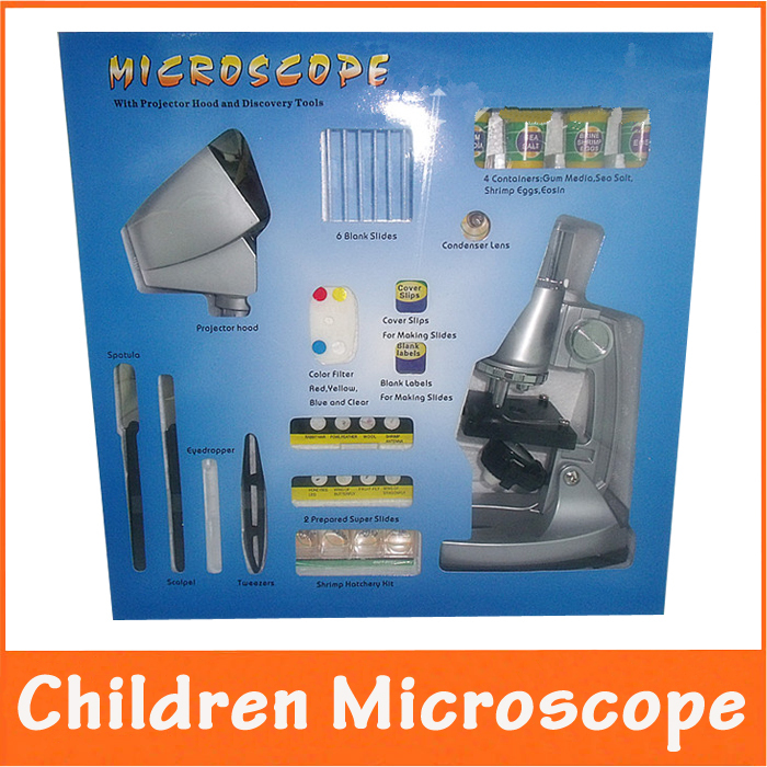 10x 20x Zoom Eyepiece LED Illuminated Educational Children Student Toy Biological Microscope with Projector & Prepared Specimen