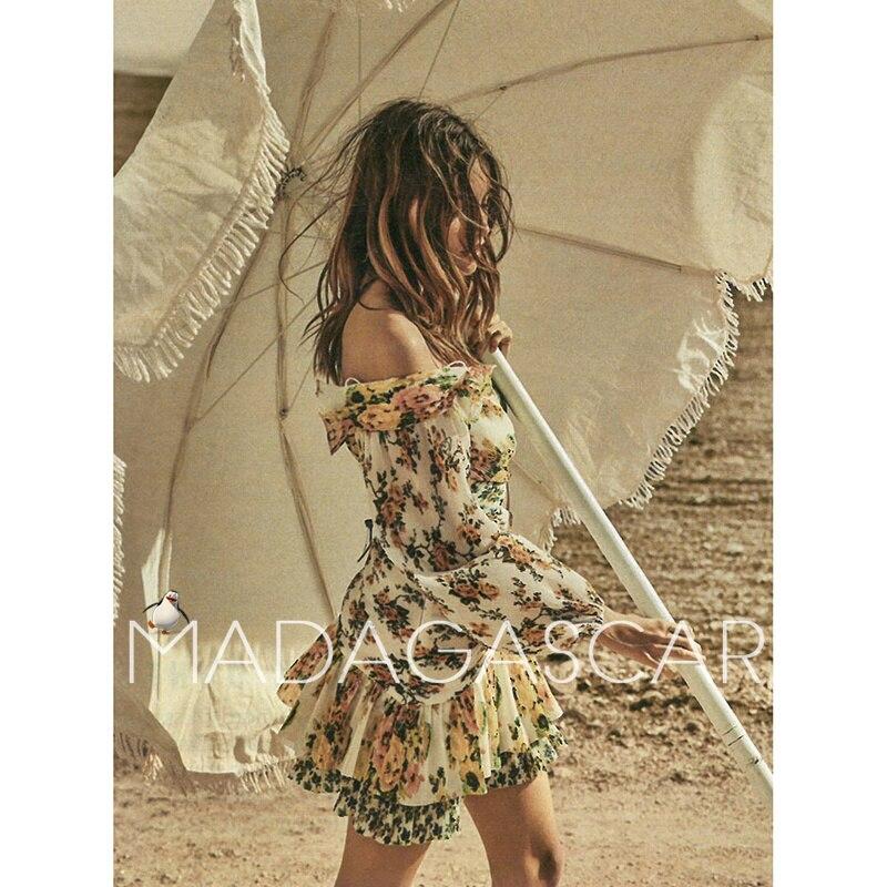 Праздничное стильное платье с открытыми плечами, с перекрещенными складками, золотистого цвета, с цветочным принтом, с вырезом, на талии, се