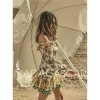 Holiday style Off the shoulder irregula rInterlaced folds Golden Surfer floral print cutout Leakage waist Sexy mini dress