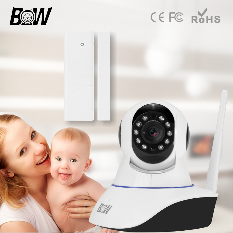 BW P2P 720P Wifi Security Camera Wireless System Baby Monitor Micro TF Card Surveillance Camera + Door Window Sensor bw wireless wifi door