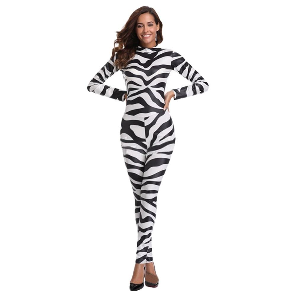 Pink Zebra Animal Print Bodysuit Ladies Fancy Dress Halloween Womens Costume New