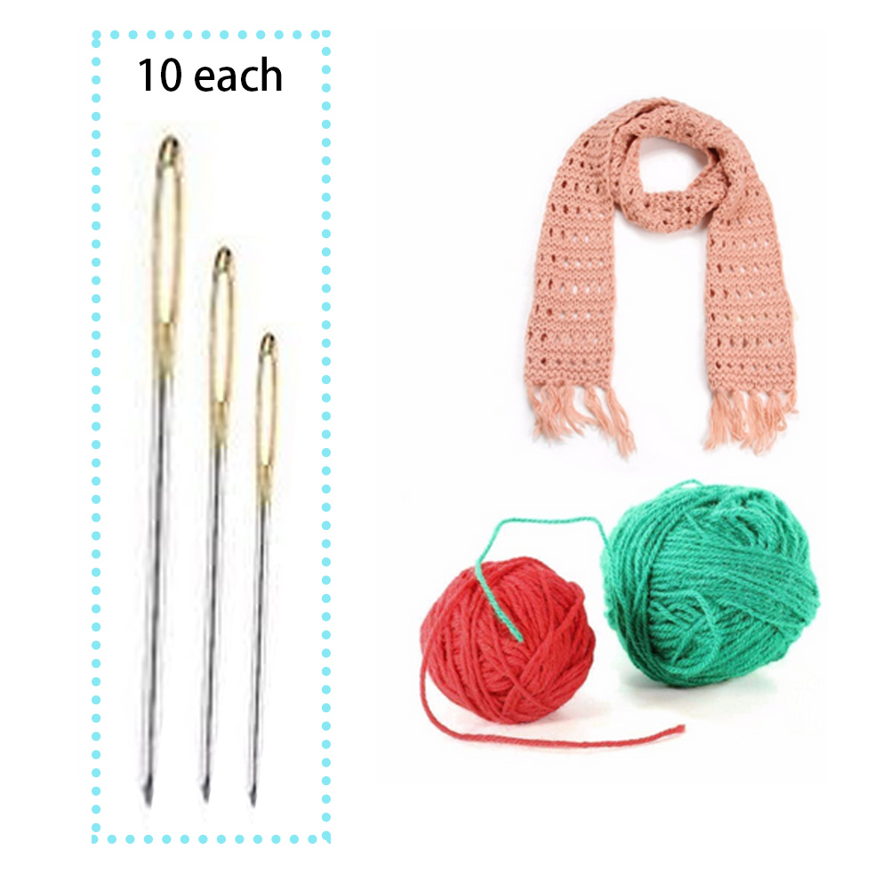 200Pcs Large Eye Embroidery Tapestry Darning Needle Sewing Tools Size 24 26