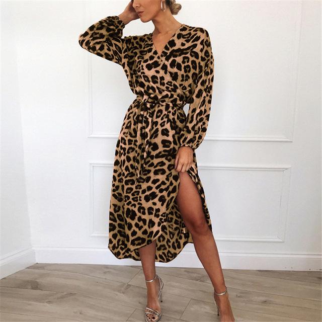 Leopard Dress 2019 Women Chiffon Long Beach Dress Loose Long Sleeve Deep V-neck A-line Sexy Party Dress Vestidos de fiesta