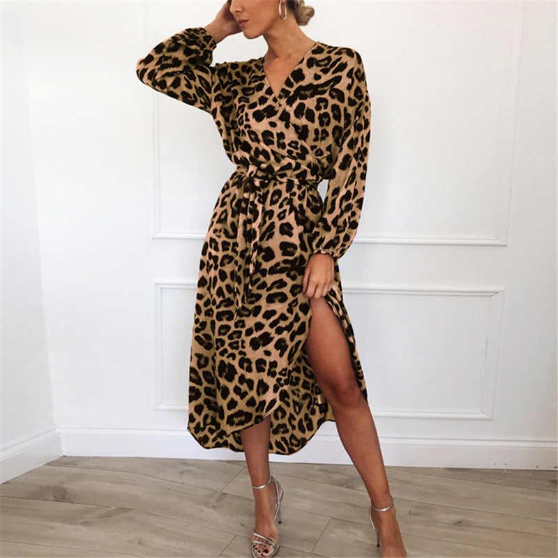 Leopard Jurk 2019 Vrouwen Chiffon Lange Strand Jurk Losse Lange Mouw V-hals A-lijn Sexy Party Dress Vestidos de fiesta
