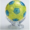 Nuevo Diseño DIY de Fútbol Balón de Fútbol Modelo 3D de Cristal Jigsaw Puzzle, Azul Amarillo Novedad Rompecabezas para Los Niños El Envío Libre