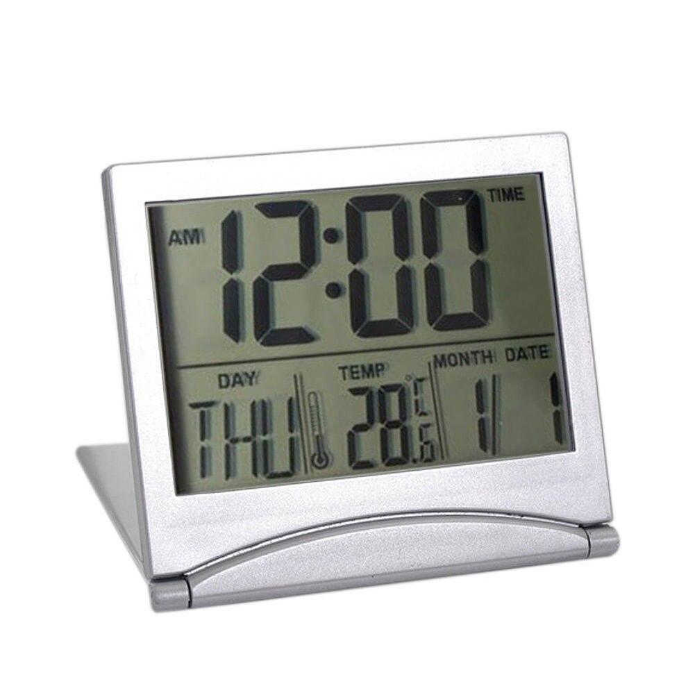 new digital lcd weather station folding desk temperature travel alarm clock lschina - Desk Clocks