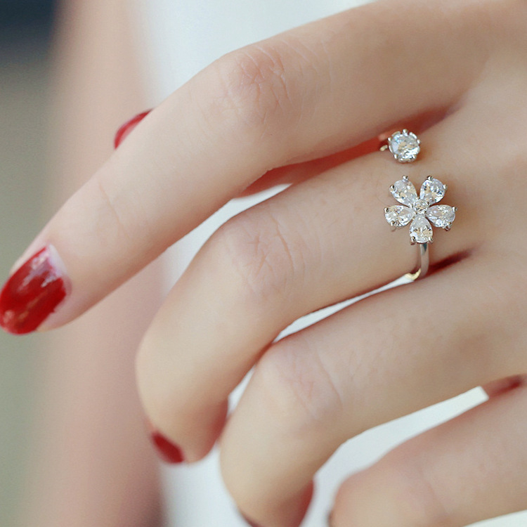 Fashion Unique 925 Sterling Silver Rings Zircon Flower Tail Ring ...