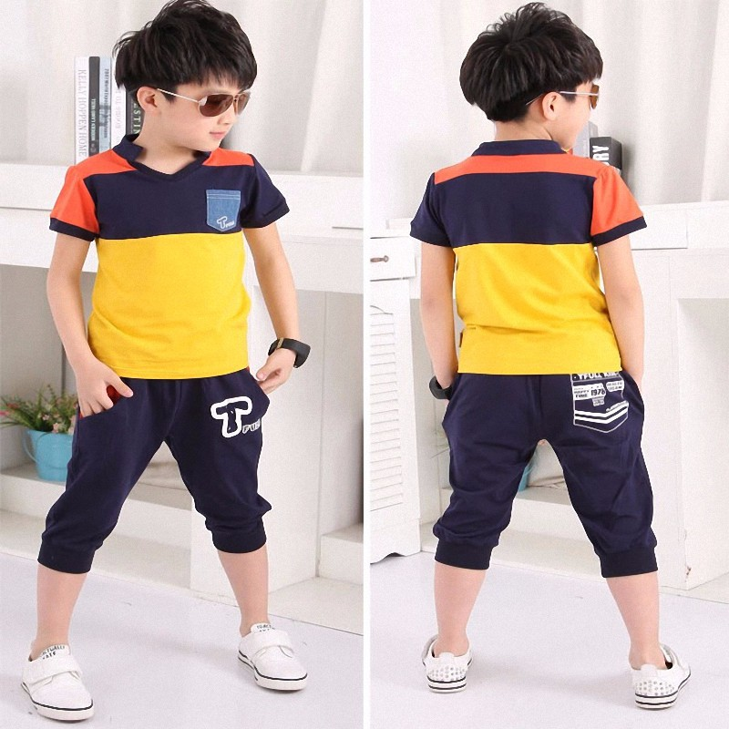 boy sport stripe clothing set (8)