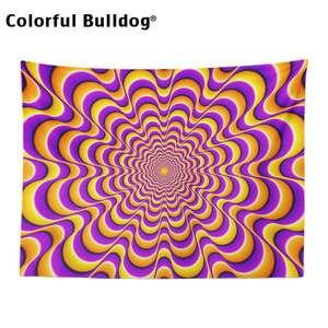 Image 3 - פסיכודלית שטיח גיאומטרי גל זגזג קיר תלוי אתני היפי דקור בית חווה כתום סגול אתני כחול ורוד שמיכה