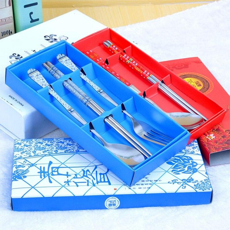 Elegant Chopsticks Stainless Steel Chopsticks for Home Restaurant Per Set Chinese Style Thread Stylish Tableware Set