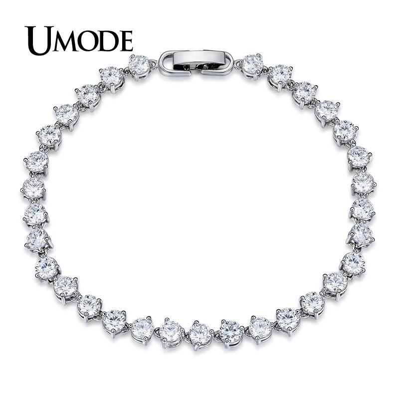 UMODE Classic 0.3ct CZ White Gold Color Cubic Zirconia Crystal Tennis Bracelets Jewelry for Women Pulseiras Bracciale UB0087 браслет с брелоками seendom jewelry 925 pulseiras cz xoxo pbs105