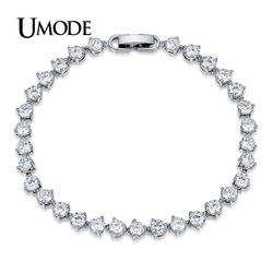 UMODE Classic 0.3ct CZ White Gold Color Cubic Zirconia Crystal Tennis Bracelets Jewelry for Women Pulseiras Bracciale UB0087