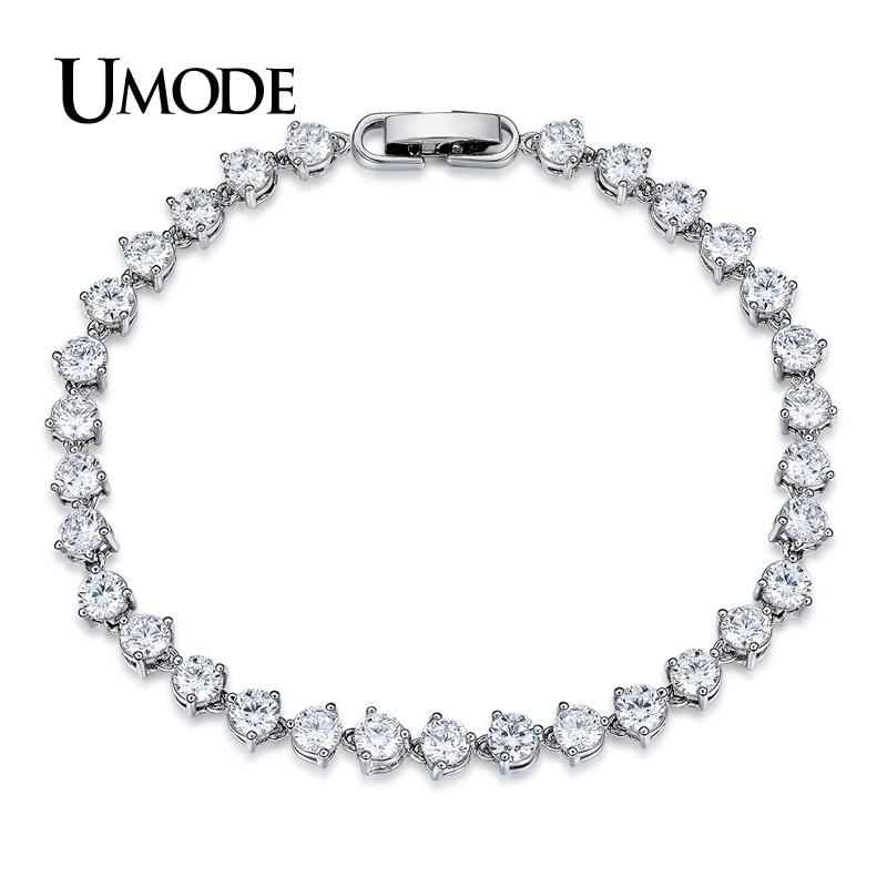 UMODE Klassische 0.3ct CZ Weiß Gold Farbe Zirkonia Kristall Tennis Armbänder Schmuck für Frauen Pulseiras Bracciale UB0087