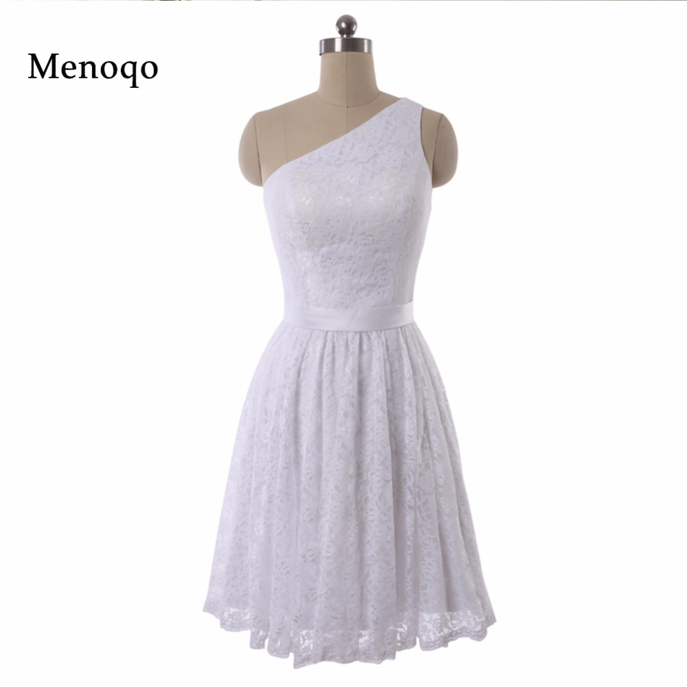 2019 New Real Photo Knee length White Lace A-line One shoulder   Bridesmaid     Dresses   Wedding Party Gown robe demoiselle d'honneur
