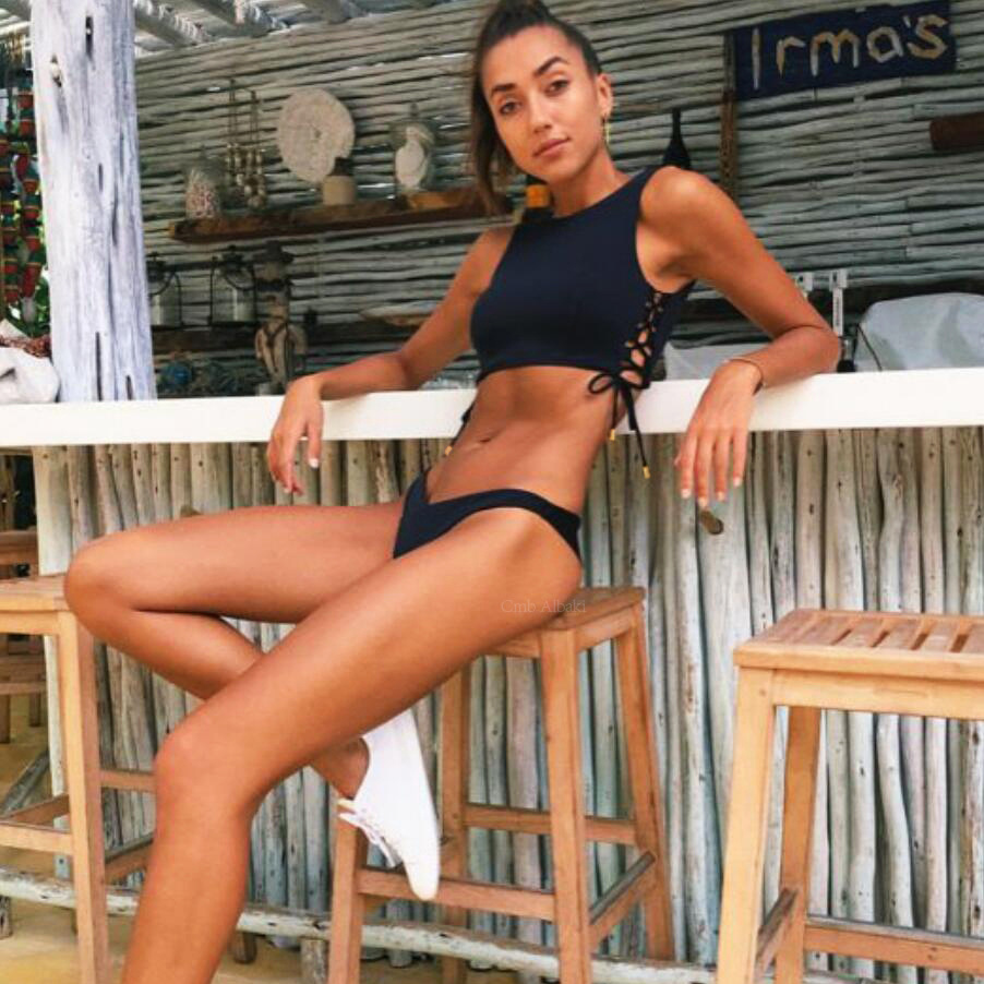 Bikiwave 2019 Sport Black Sexy High Neck Bikini Swimwear Women Swimsuit Bandage Cut Out Beach Wear Crop Top Bathing Suit Biquini