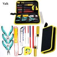 Yalku Mão Tool Set Tool Kit Set Combinação Saco de Alta Qualidade Conjunto de ferramentas 13 In1 Chave de Fenda Alicate de Lâmina Utilitário Faca Régua Arquivo