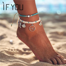 Женский и мужской браслет на ногу if you многослойный пляжный