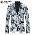 2017 New Arrival Mens White Printed Blazer Jacket Stage Clothing Single Breasted Slim Fit Mens Casual Blazers DT419