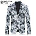 2017 Nuevos Mens de La Llegada Blanco Impreso Blazer Chaqueta de Ropa de la Etapa de Un Solo Pecho Slim Fit Mens Casual Blazers DT419