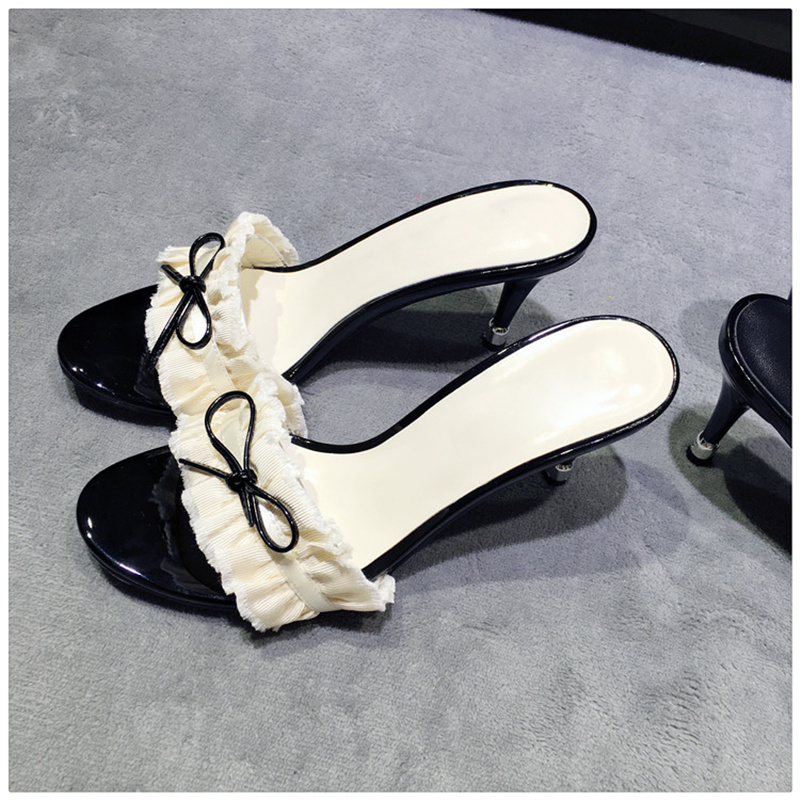2018 Women Slipper Butterfly Knot Decor Women Slides Pearl Sexy High Thin Heel Outdoor Summer Shoes Brand Designer White Black