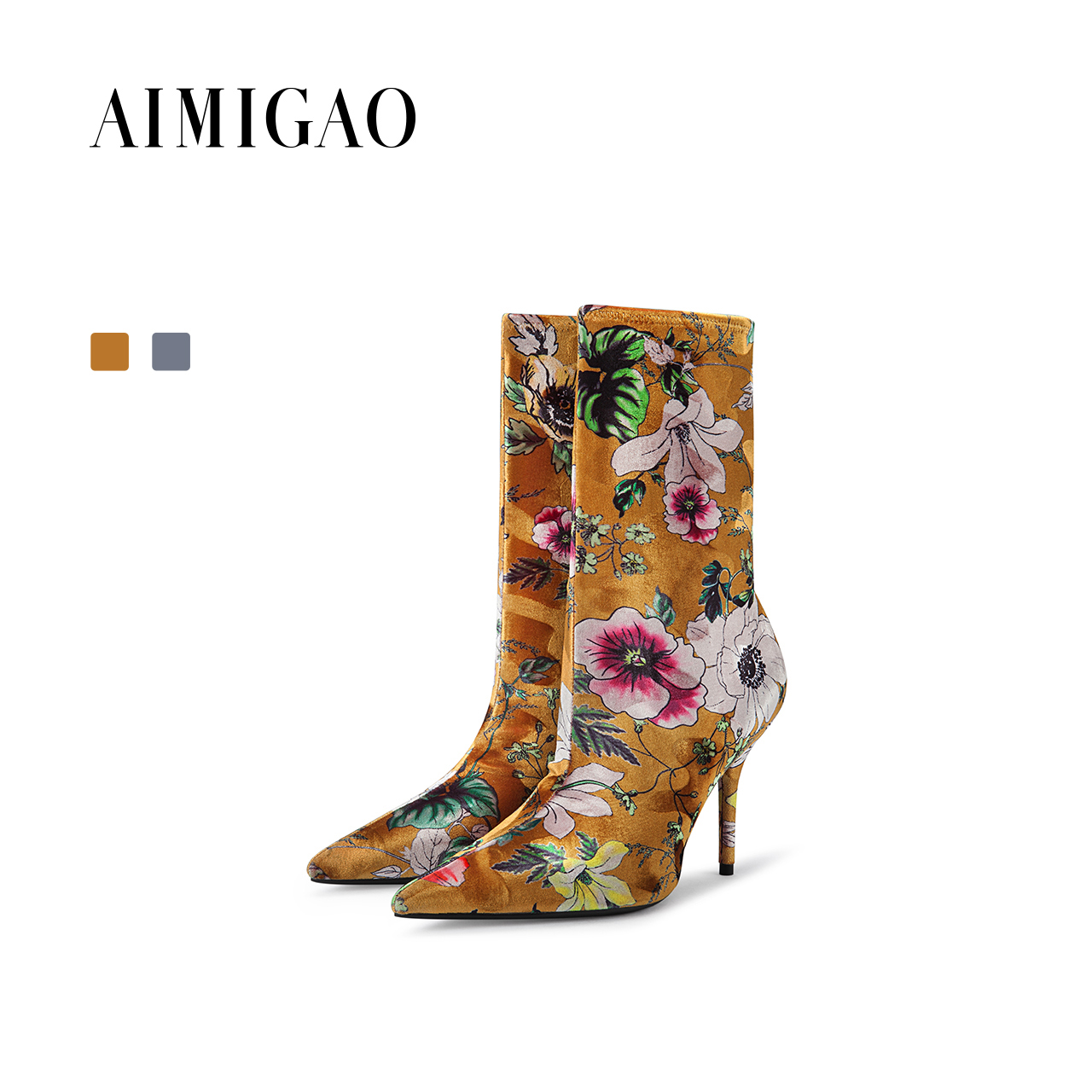 AIMIGAO fashion floral socks boots 2017 autumn winter new pointed toe sexy thin high heel women Mid-calf boots luxury new arrival superstar genuine leather chelsea boots women round toe solid thick heel runway model nude zipper mid calf boots l63