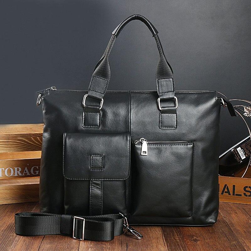 Joyir nuevos hombres maletines de cuero genuino ocio hombres bolsa de negocios 14 pulgadas ordenador portátil bolsas de oficina para hombres negro-in Carteras from Maletas y bolsas    1