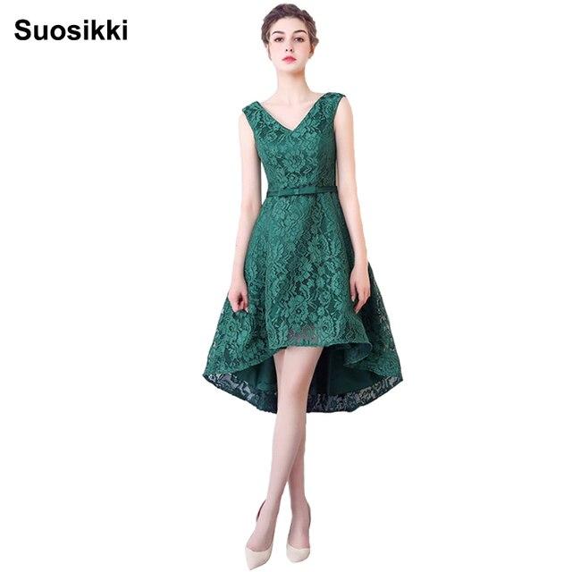 2c0a5d02f Alto vestido low prom V-cuello largo delantero corto de encaje vestidos de  noche abendkleider