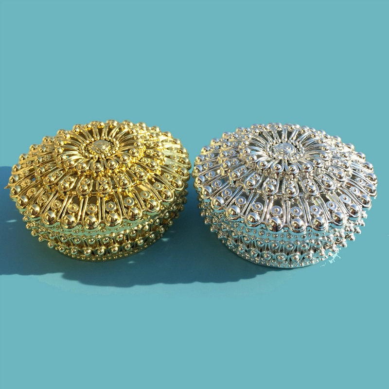 200pcs Luxury Golden Silver Peacock Round Candy Box Treasure Chest Wedding Favor Box Party Supplies