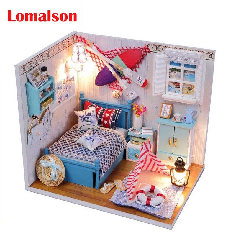 Bricolage maison de poupée miniatura 3D maison de poupée en bois miniature meubles pour enfants jouets poupées maisons cadeau d'anniversaire