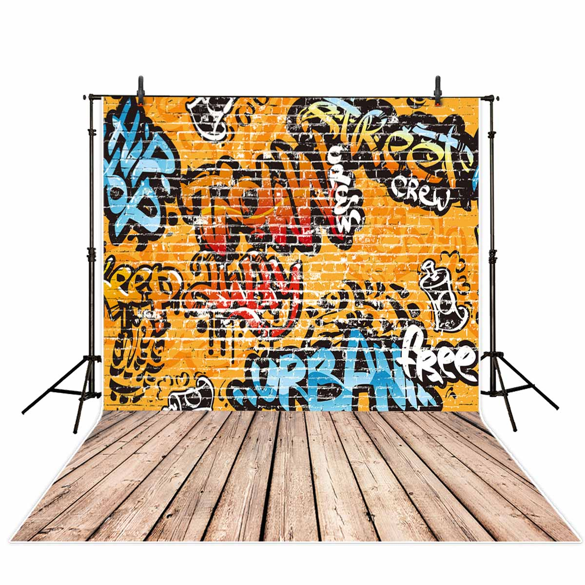 Allenjoy Photography Backdrops Graffiti Brick Wall Yellow Street Rap Wooden Floor Background For Photographic Studio Photography In Background