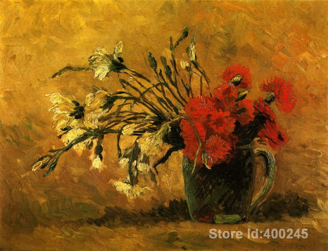 modern art oil paintings Vase with Red and White Carnations on a Yellow Vincent Van Gogh Reproduction Hand painted High qualitymodern art oil paintings Vase with Red and White Carnations on a Yellow Vincent Van Gogh Reproduction Hand painted High quality