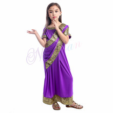 Indien Bollywood filles inde Saree caftan Sari robe vêtements indien Sari Halloween Costumes(China)