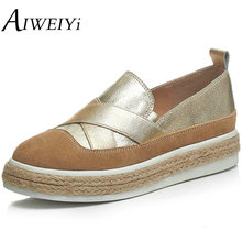 AIWEIYi Women Slip On Girls Loafers Genuine Leather Flat Shoes Woman Fashion Women Flats Ladies Espadrille Shoes Silver Gold