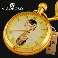 VIGOROSO Brand Luxury Antique Gold Full Steel Moon Phase 12/24 Hours Mechanical Hand wind Pocket Watch FOB Chain Pendant Watch