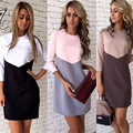 Kaywide 2016 mujeres winter dress fashion series lindo nuevo estilo three cuartos remiendo de la manga midi dress for women a16337