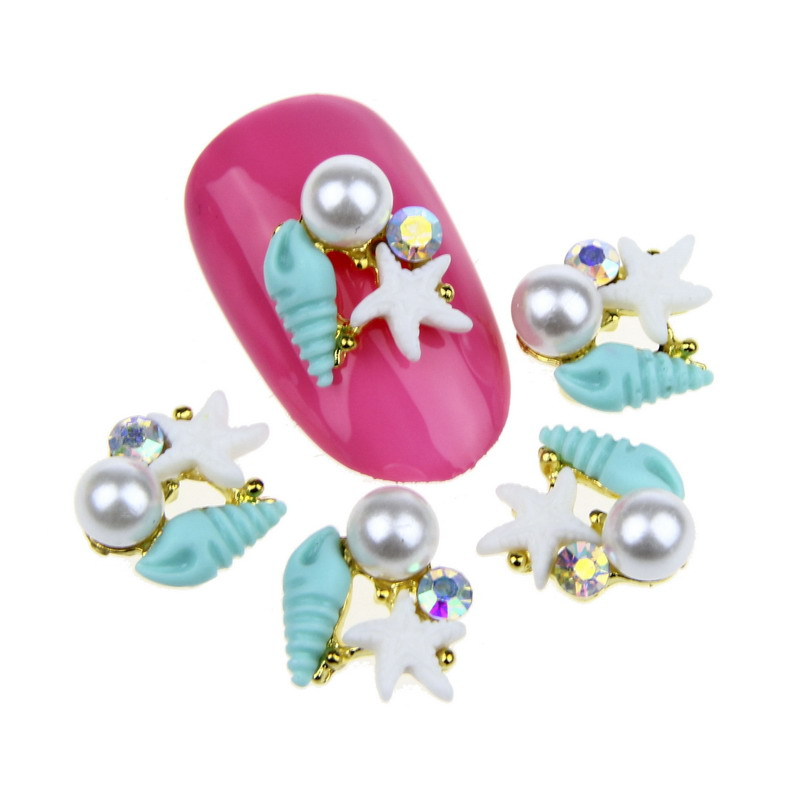 10Pcs/Lot Paved Pearl Starfish Conch Rhinestone Nail Charms s