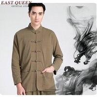 Traditional chinese clothing for men male Chinese mandarin collar shirt blouse wushu kung fu outfit tops linen shirt KK2348