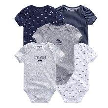 5 ชิ้น/ล็อตชุดบอดี้สูททารกแรกเกิด unisex สั้น sleevele เด็ก Jumpsuit คอ 0 12M Cotton Roupa de BEBE ชุดเสื้อผ้า