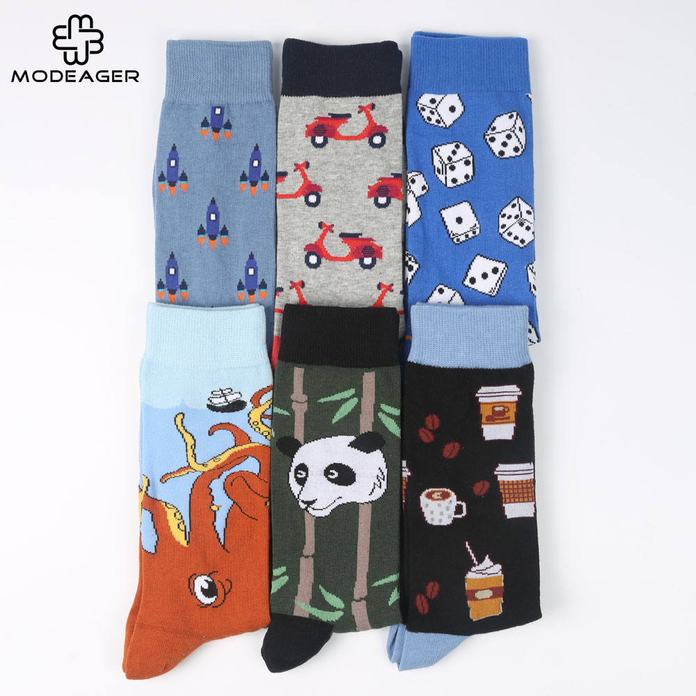 Modeager Brand Men   Socks   Cartoon Novelty Animal Panda Octopus Flamingo Winter Thick Funny Cotton Long Skate   Socks   for Men