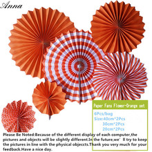 6pcs orange Cheap Paper Fans For Wedding Tissue Paper Fans Flowers Birthday Party Holiday