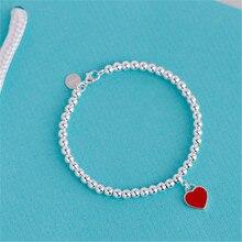 Hot selling Fashion Heart red enamel charm bead bracelets for women 925 silver real Fine Jewelry