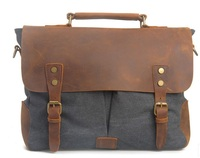Canvas Leather Europe America Retro Messenger Shoulder Hand Briefcase Tote Bag Khaki Brown Laptop Computer School