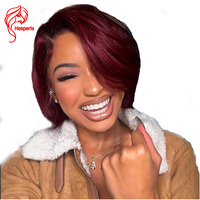 Hesperis Ombre Red Bob Cut Brazilian Human Hair Full Lace Wigs Short 1B 99J Lace Wigs