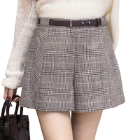 New Autumn Winter Woolen Shorts Women Fashion Temperament Plaid High Waist Short Feminino Wide Leg Loose