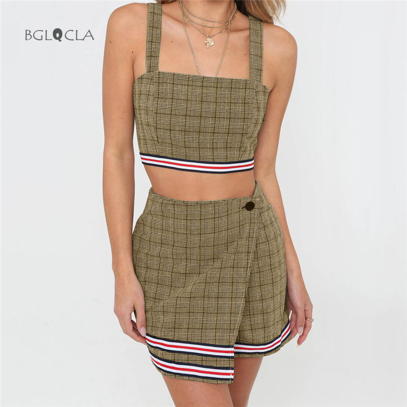 d8be7d834032 2019 Autumn Two Piece Set Women Tank 2 Piece Set Tops Short Mini Skirt  Backless Plaid Sexy Casual Women's Suit Crop Top Skirts-in Women's Sets  from Women's ...