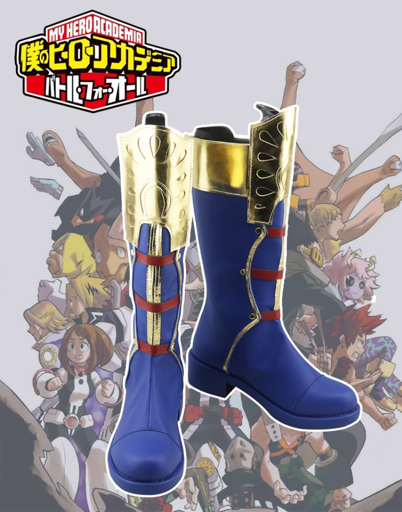 Japanese Anime My Hero Academia Todoroki Shoto Cosplay Shoes Dark Blue Zippe-up Back PU Leather Cosplay Boots Shoes Size 35-44