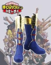 Japanese Anime My Hero Academia Todoroki Shoto Cosplay Shoes Dark Blue Zippe-up Back PU Leather Boots Size 35-44
