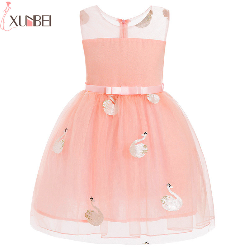 Pretty   Flower     Girl     Dresses   Cutton 2019 Swan Appliqued Pageant   Dresses   For   Girl   First Communion   Dresses   Kids Prom   Dresses