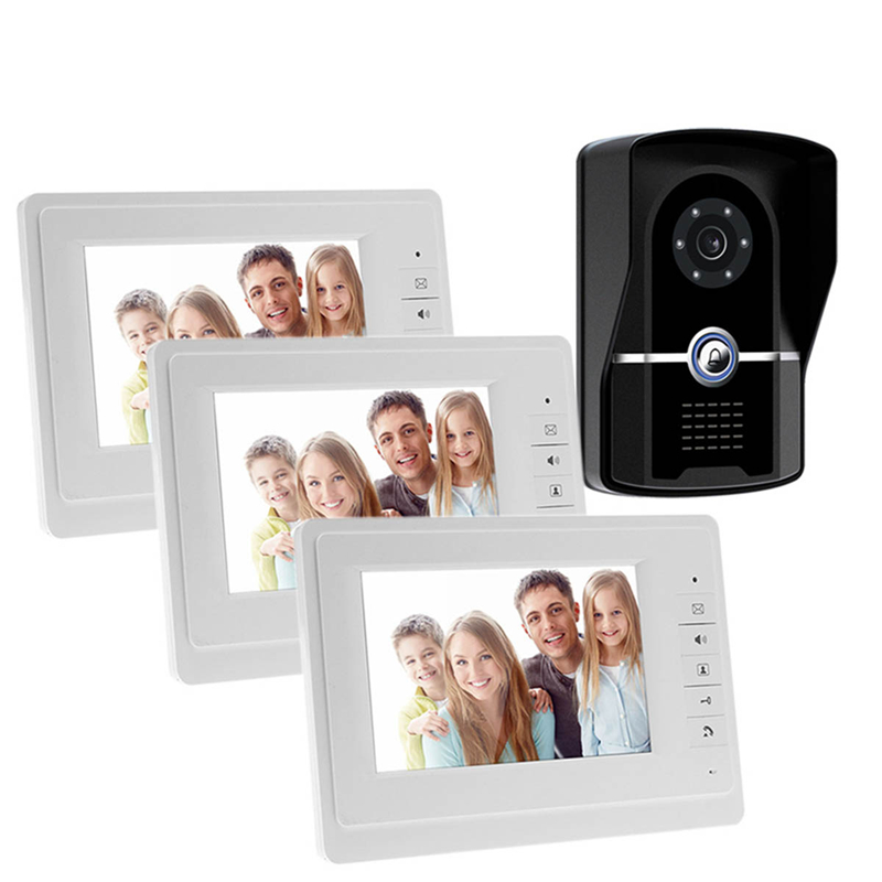 HD 7 inch Color LCD Video Door Phone Intercom System Door Release Unlock+1 Doorbell Camera+3 White Indoor Monitor Free Shipping fast free shipping 7 inch tft lcd screen color video door phone video indoor monitor machine for diy intercom system